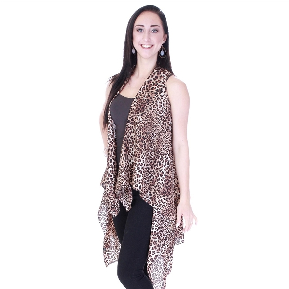 Leopard Print Vest - Brown