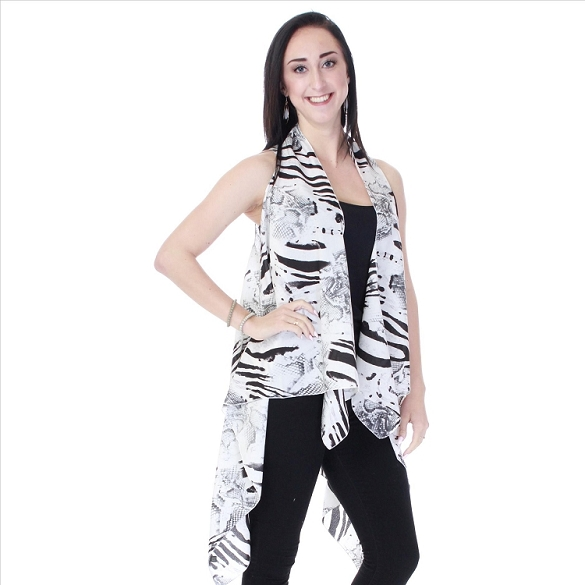 Refined Abstract Print Vest - Black