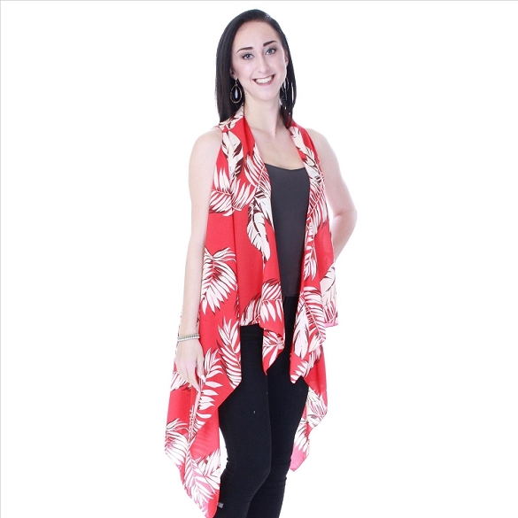 Expressive Leaves Vest - Red