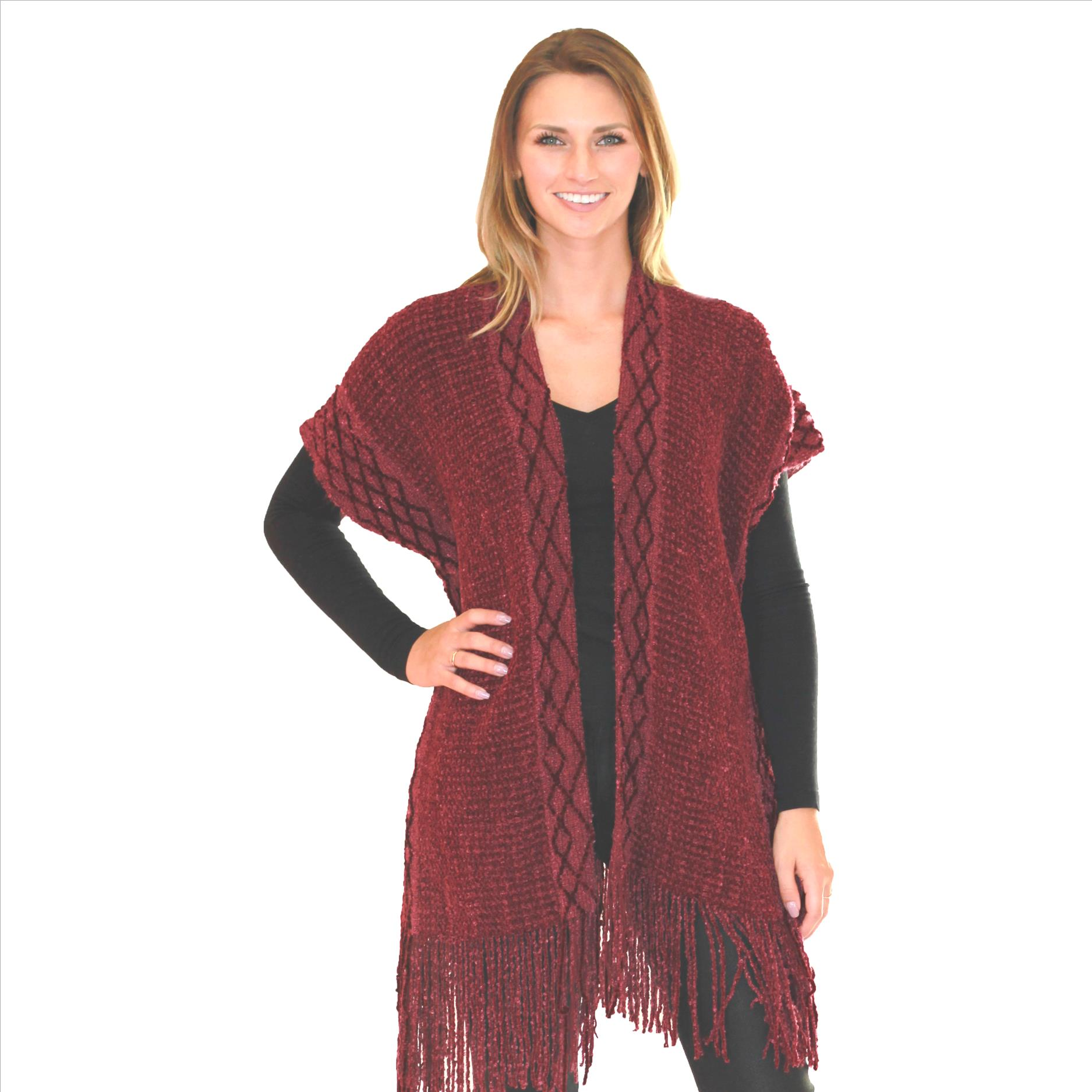 6 Pack Intricate Knit Cardigan - Burgundy