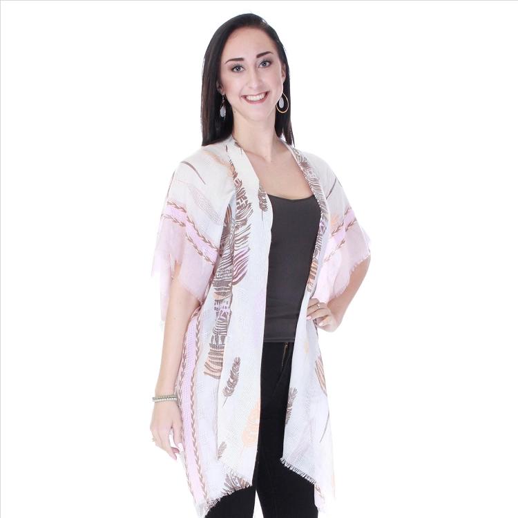 7f2e99b25 Boho Feathers Kimono - Pink