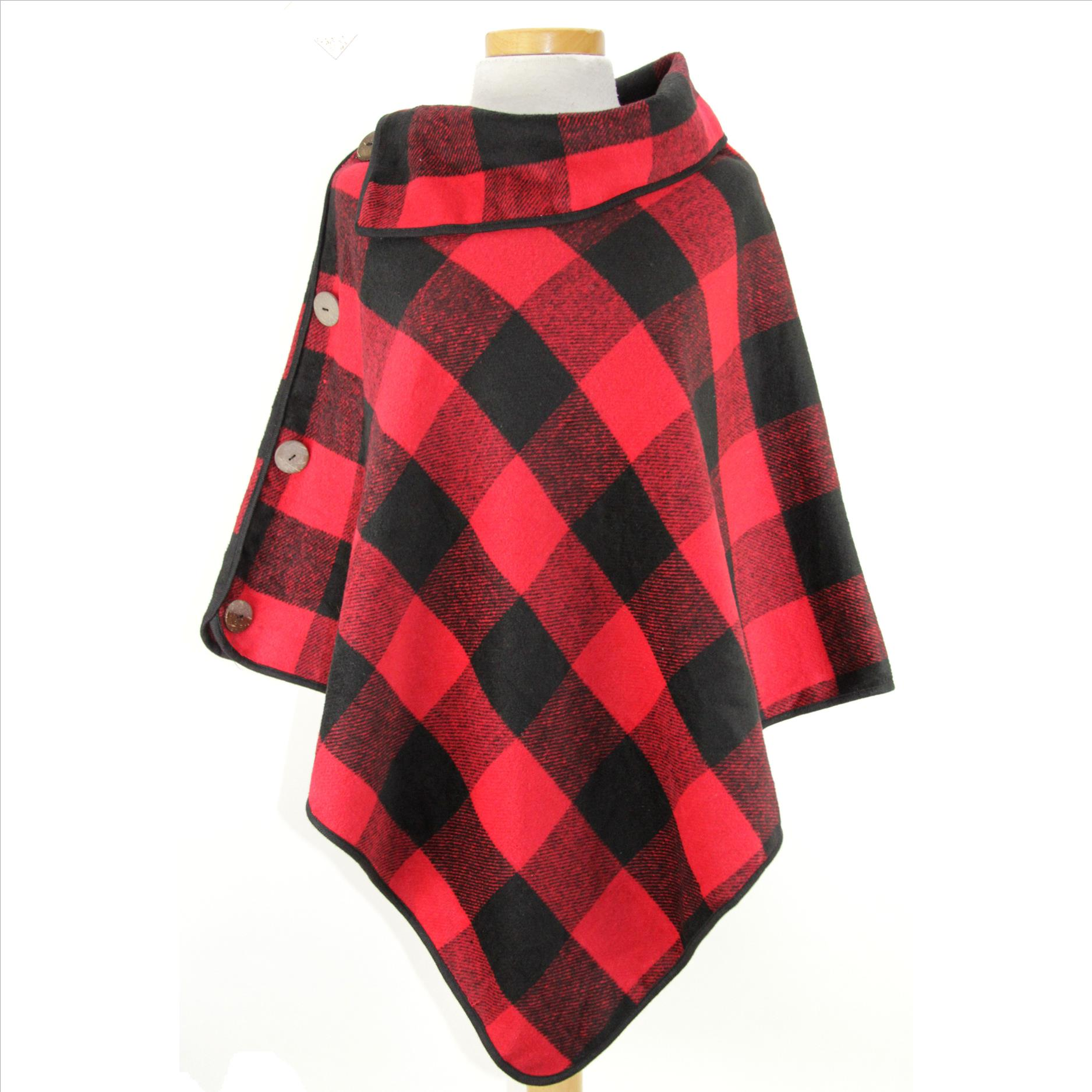 Coconut Button Buffalo Plaid Ponchos - Red / Black