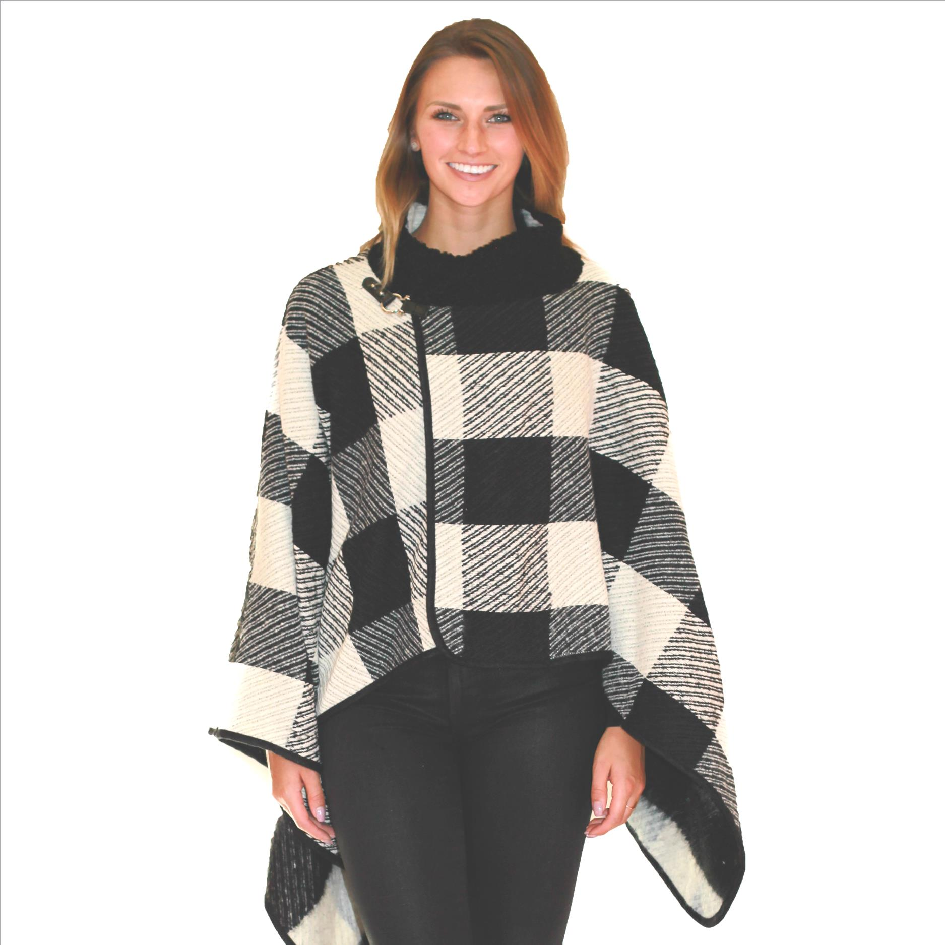 6 Pack Buffalo Plaid Wraps with Fur Collar - Black / White