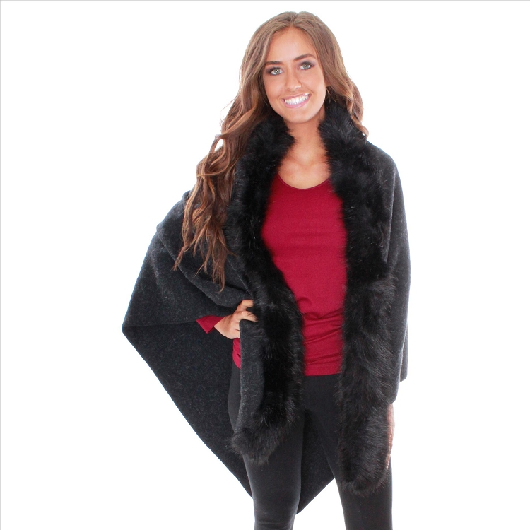 Awesome Faux Fur Cape - Black