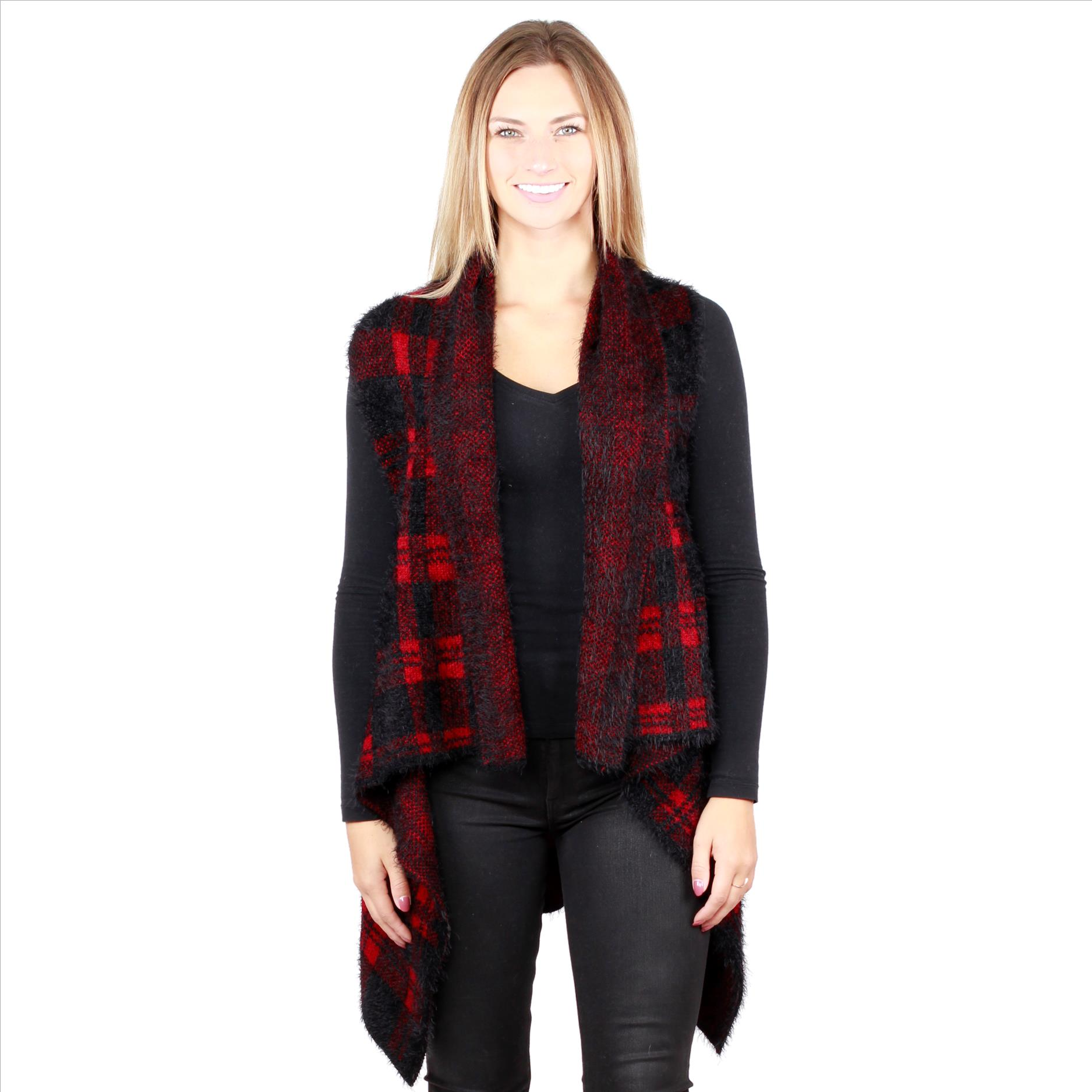 6 Pack Awesome Mohair Feel Plaid Vest - Red / Black