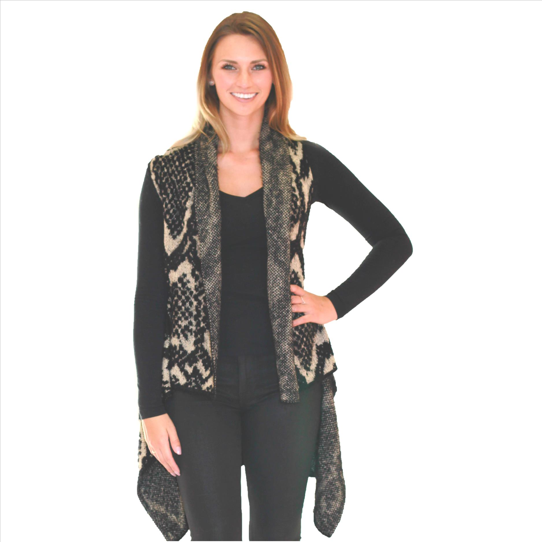 Awesome Cashmere Feel Vest - Abstract Print Black / Tan