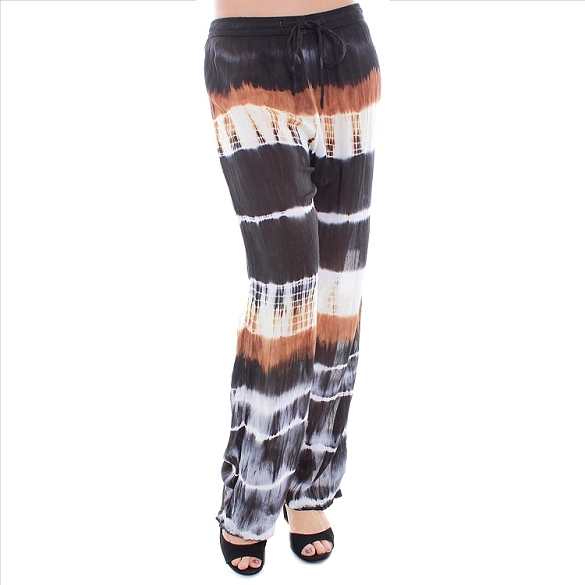 Tie Dye Drawstring Pants - Black