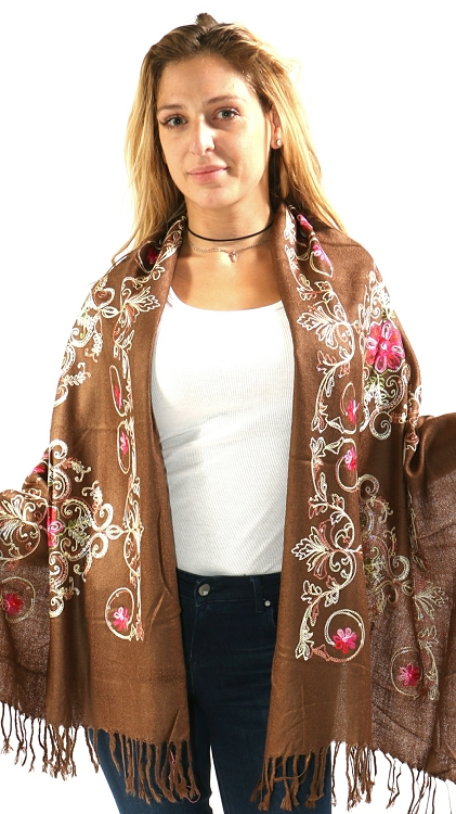 Pashmina & Silk Shawl - Brown
