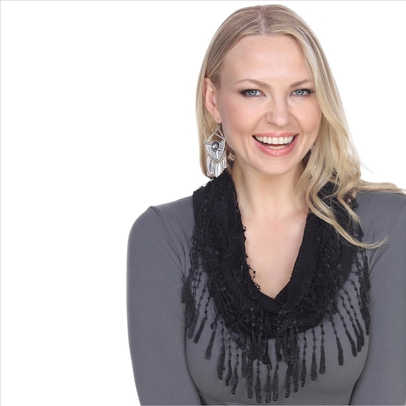 Chic Lace Infinity Scarf - Black