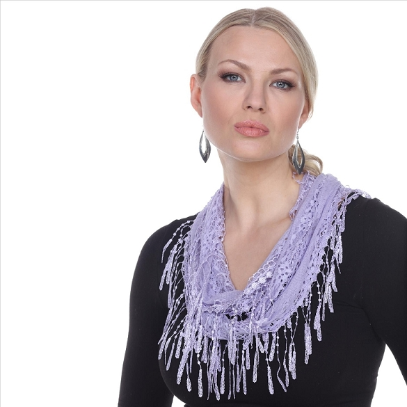 Chic Lace Infinity Scarf - Lilac