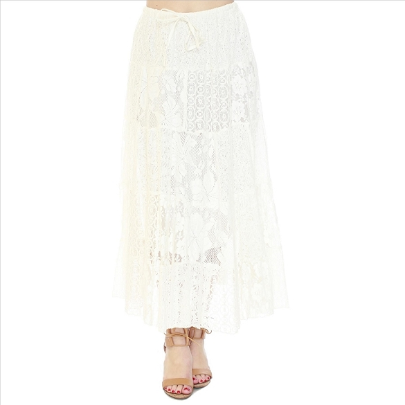 Eyelet and Lace PLUS SIZE Patchwork Skirt - Ecru