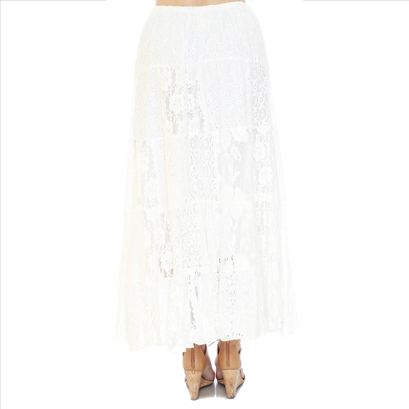Eyelet and Lace PLUS SIZE Patchwork Skirt - White