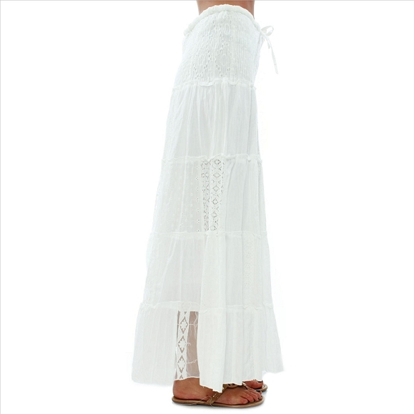 Eyelet and Lace Patchwork Skirt - White