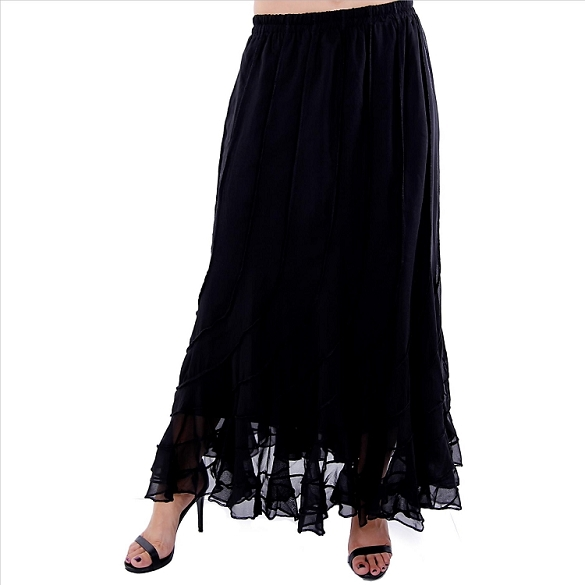 Elegant Flowing Skirt - Black