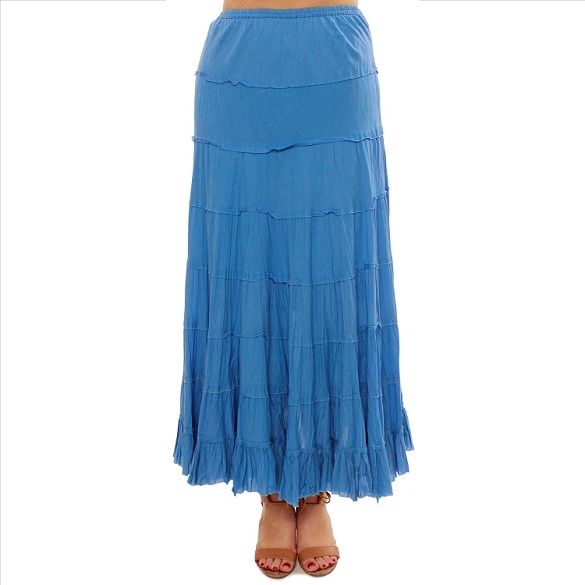 Cotton Tiered Skirt - Blue