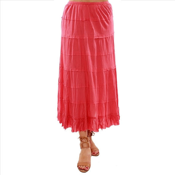 Cotton Tiered Skirt - Coral