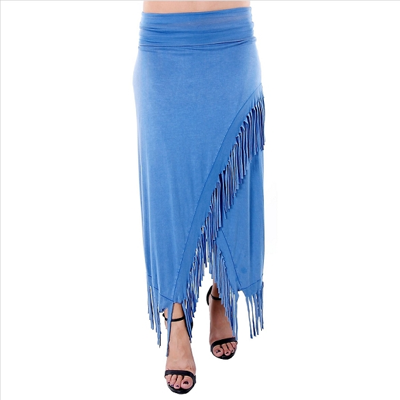 Chic Fringe Skirt - Blue