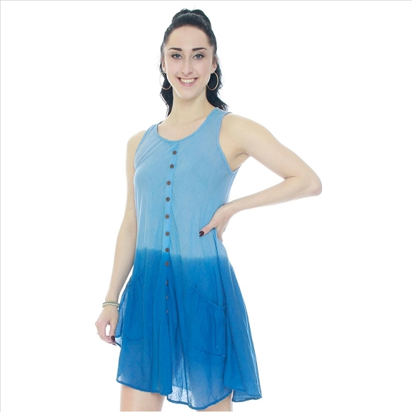 Cotton Dress with Pockets - Blue Ombre'