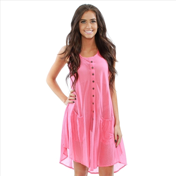Cotton Dress with Pockets - Coral