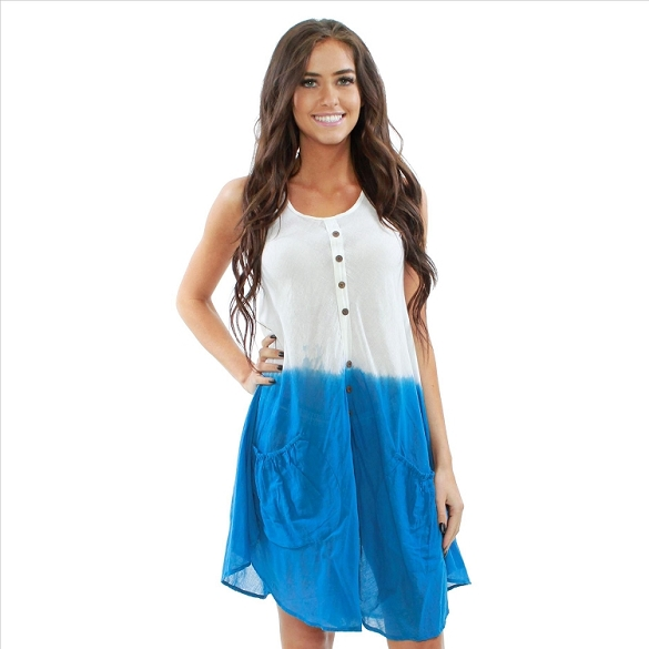 Cotton Dress with Pockets - White / Blue