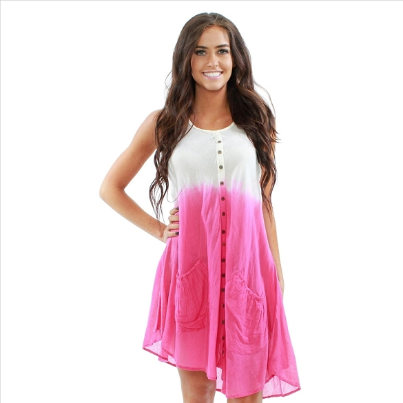 Cotton Dress with Pockets - White / Fuchsia