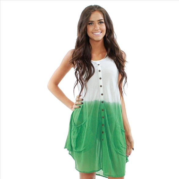 Cotton Dress with Pockets - White / Green