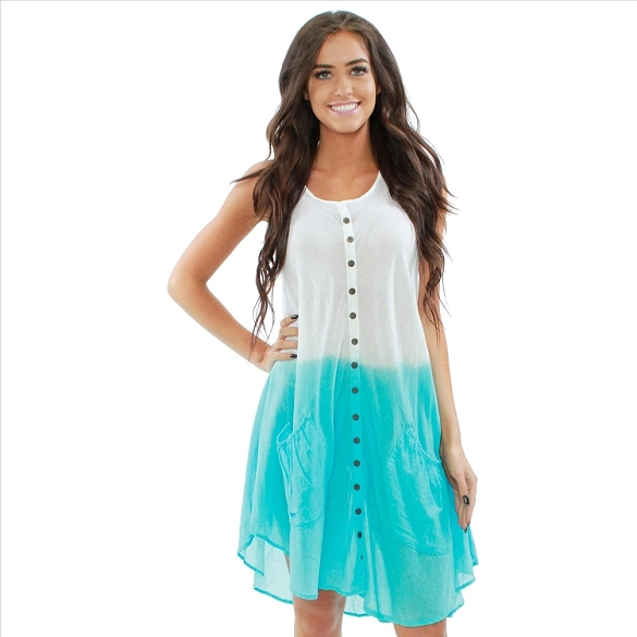 Cotton Dress with Pockets - White / Turquoise