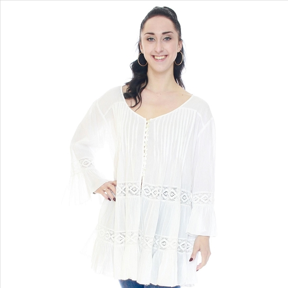 Button Up Lace Inset Bell Sleeve Blouse - White