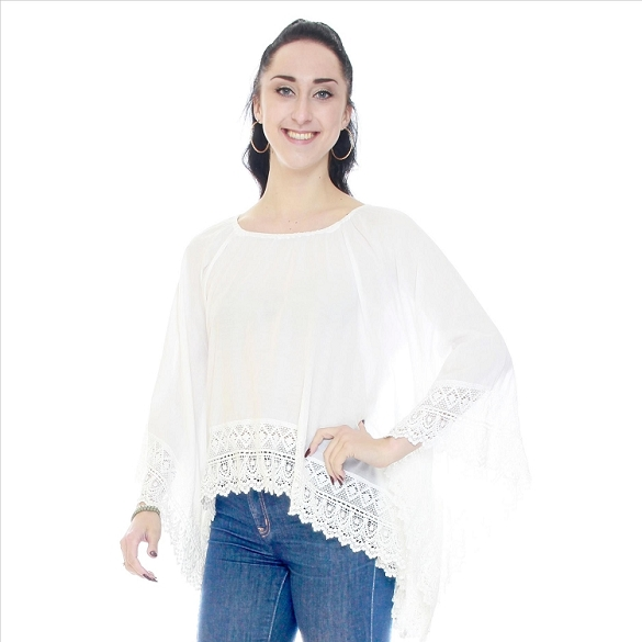 High Lo Lace Trimmed Tunic - White