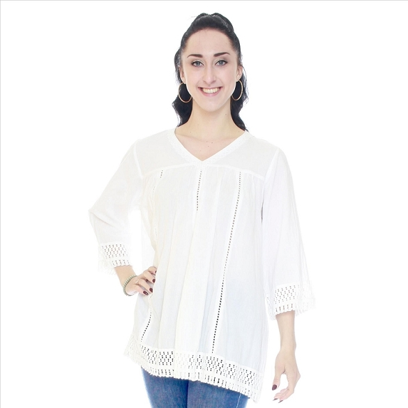 V-Neck Lace Inset Tunic - White