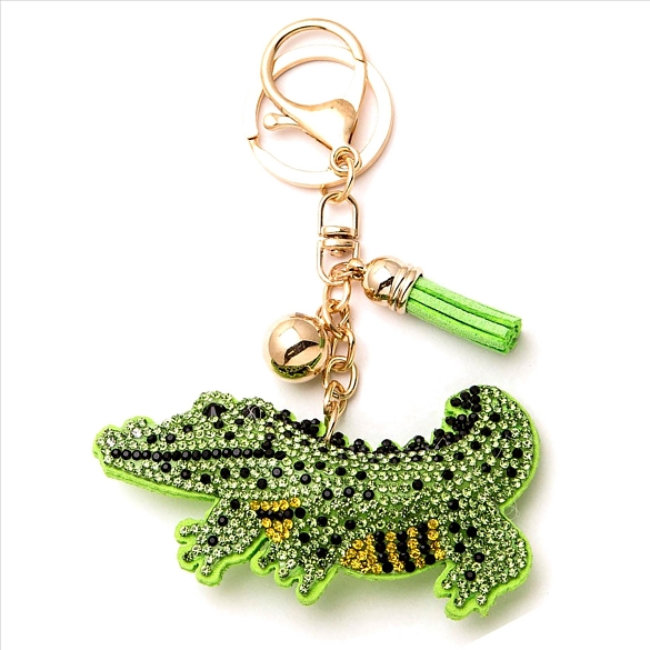 Alligator Rhinestone Puffy Tassel Key Chain Purse Charm Handbag Accessory