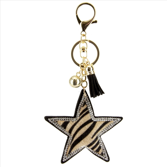 Bling Star Zebra Print Rhinestone Puffy Tassel Key Chain / Purse Charm