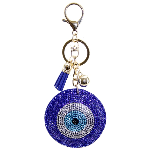 Evil Eye Rhinestone Puffy Tassel Key Chain / Purse Charm