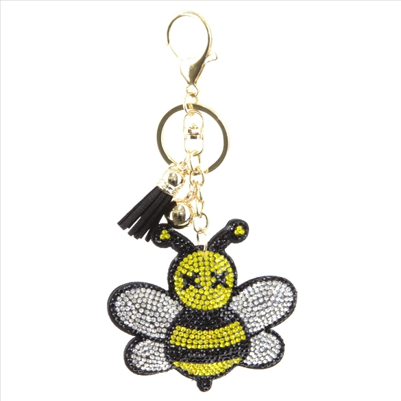 Bumble Bee Rhinestone Puffy Tassel Key Chain / Purse Charm