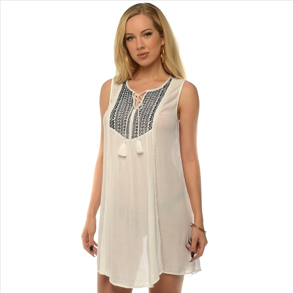 Embroidered Tie Notch Neck Dress - White