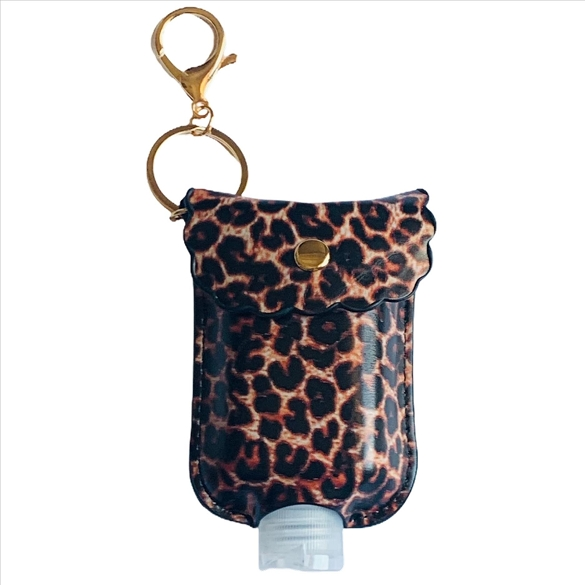 Mini Sanitizer Holder and Key Chain - Leopard Print