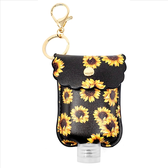 Mini Sanitizer Holder and Key Chain - Sunflower Print