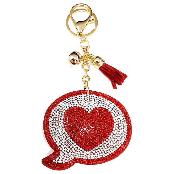 Heart Emoji Rhinestone Puffy Tassel Key Chain Purse Charm Handbag Accessory