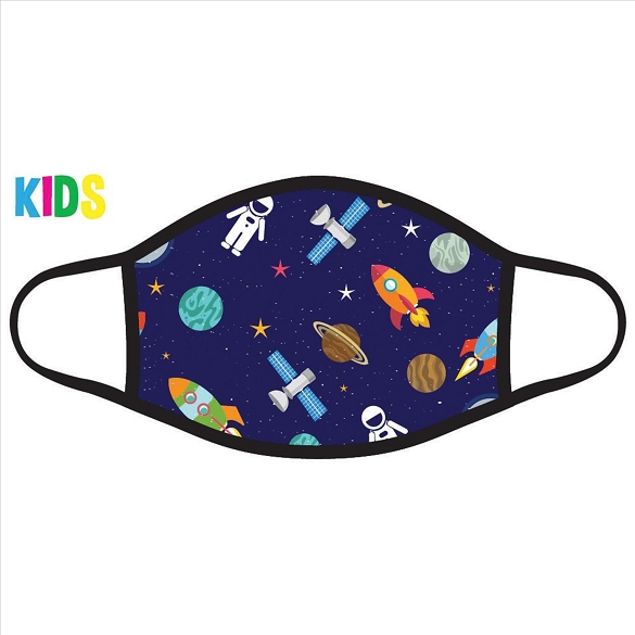 Astronauts and Rockets Kids Face Mask - Navy
