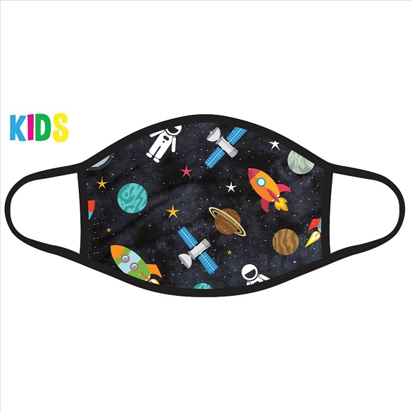Astronauts and Rockets Kids Face Mask - Black