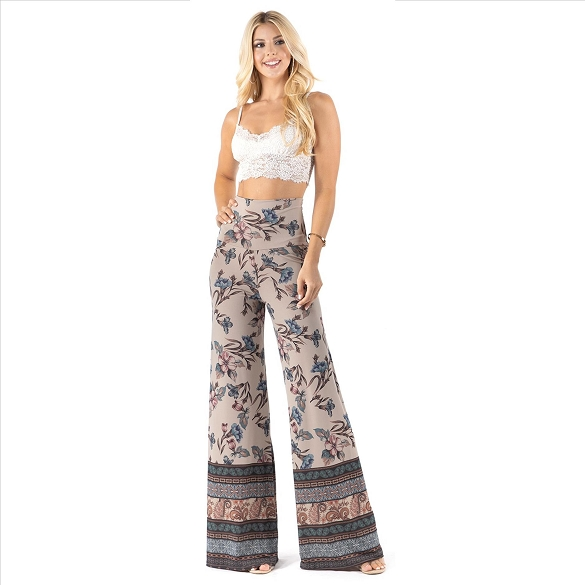 High Waist Palazzo Pants with Pockets - Blue Floral