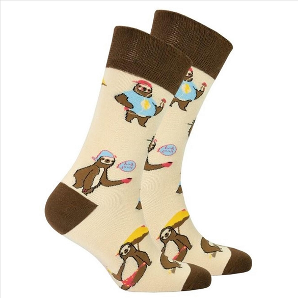 Men's Tan Sloth Socks #1456