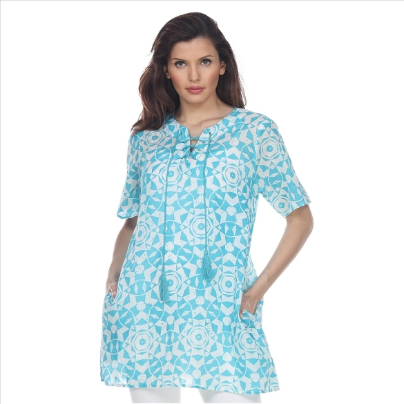 Abstract Mosaic Print Tunic with Pockets - Mint