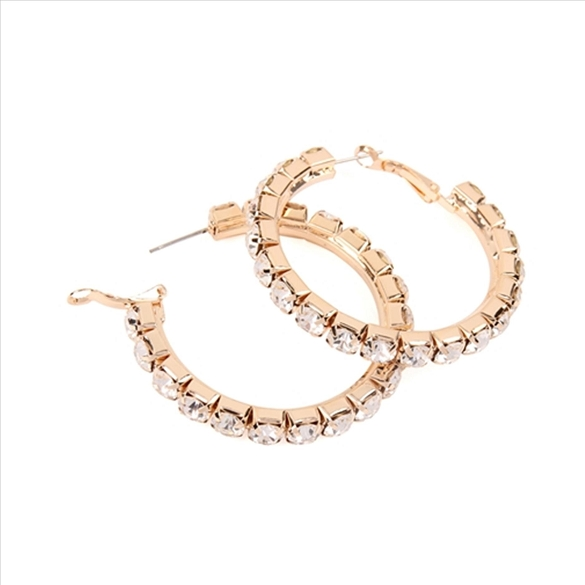 Pave Crystal Hoop Post Earrings - Gold