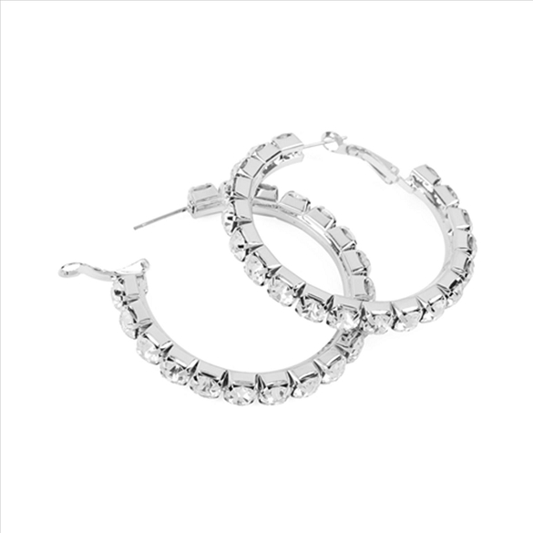 Pave Crystal Hoop Post Earrings - Silver