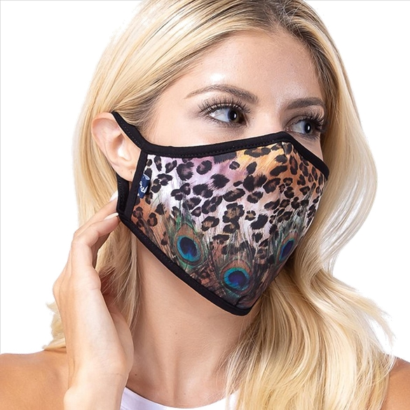 Leopard Peacock Print Face Mask