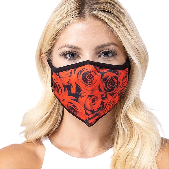 Red Rose Print Face Mask - 6 Pack