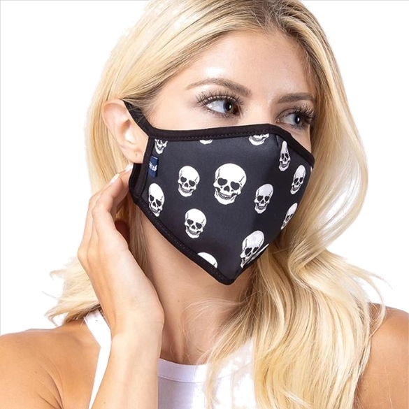 Black Skull Print Face Mask