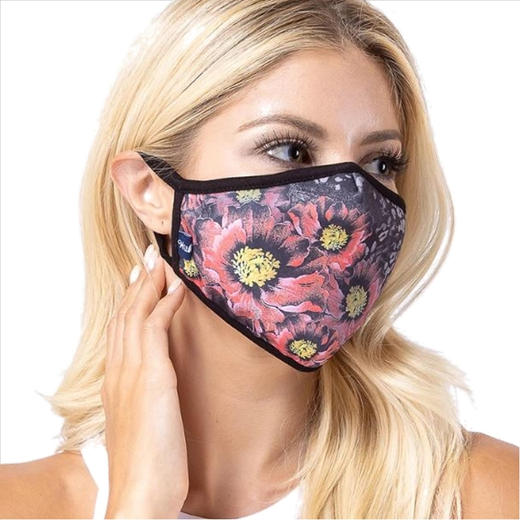 Flowers in Dark Print Face Mask