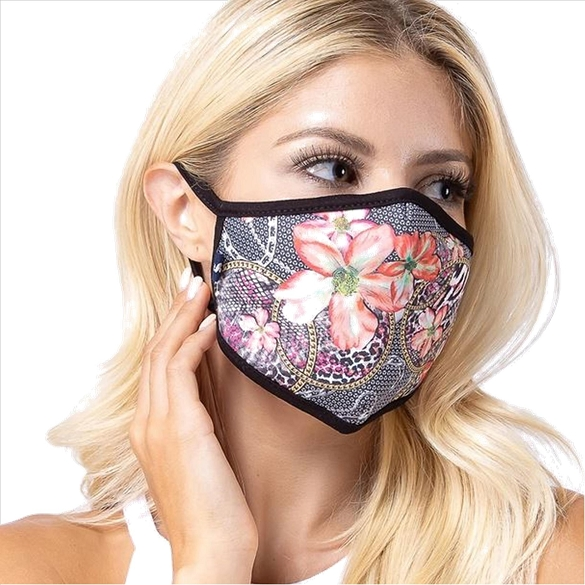 Abstract Flower Print Face Mask - 8 Pack